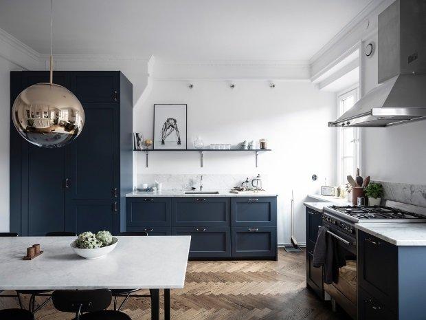 паркет на кухне в скандинавском стиле