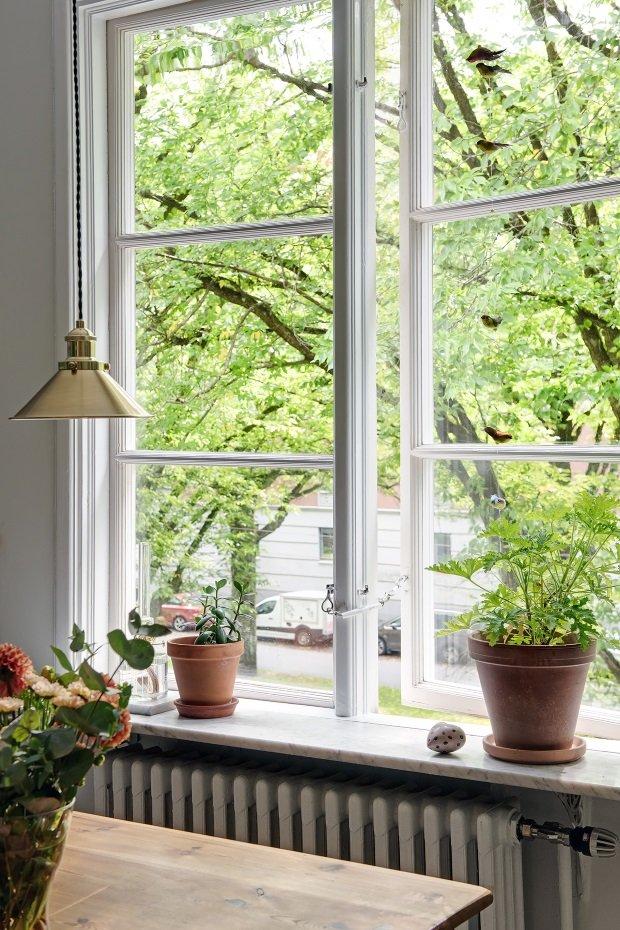 горшки на кухонном окне