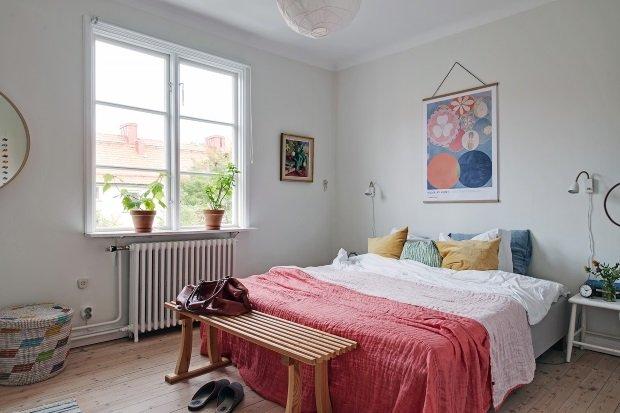 спальня в скандинавском интерьере
