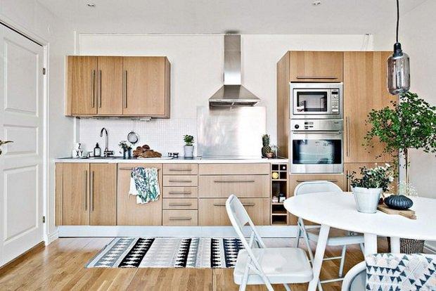 деревянная кухня в скандинавском стиле