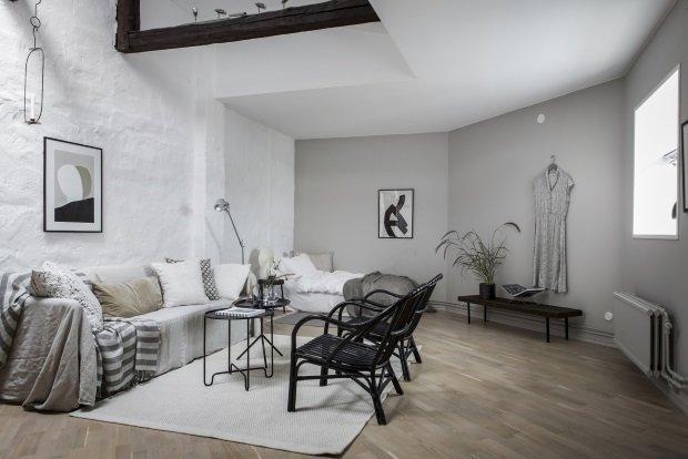 Скандинавская гостиная в маленькой квартире