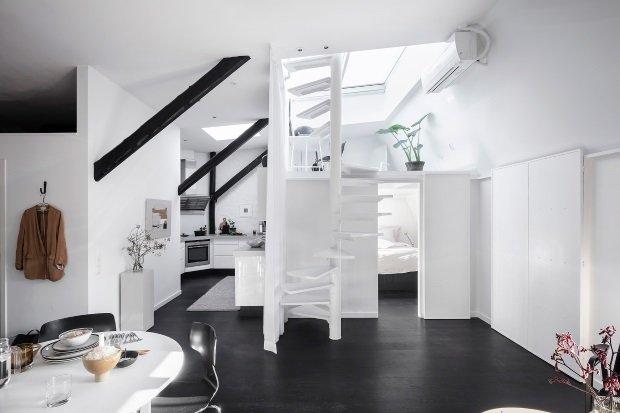 Современная квартира: вид из гостиной на кухню, спальню и кабинет