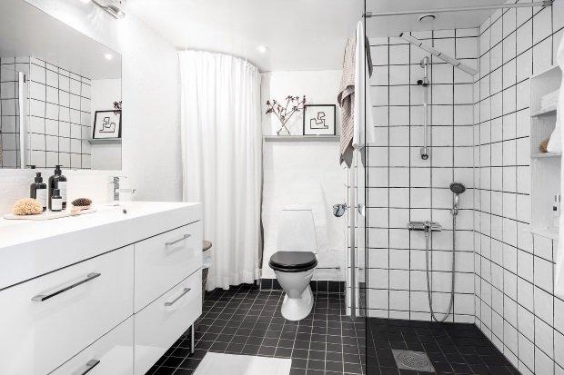 Современная квартира: ванная комната в скандинавском стиле