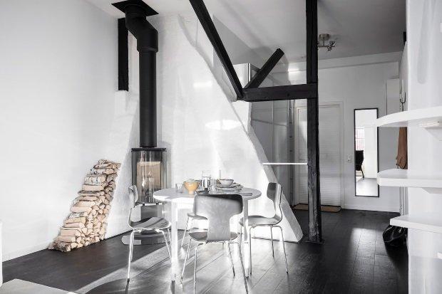 Современная квартира: камин в гостиной