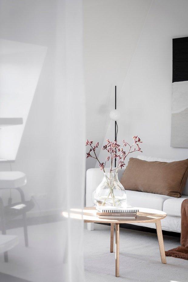 Современная квартира: цветы на журнальном столике