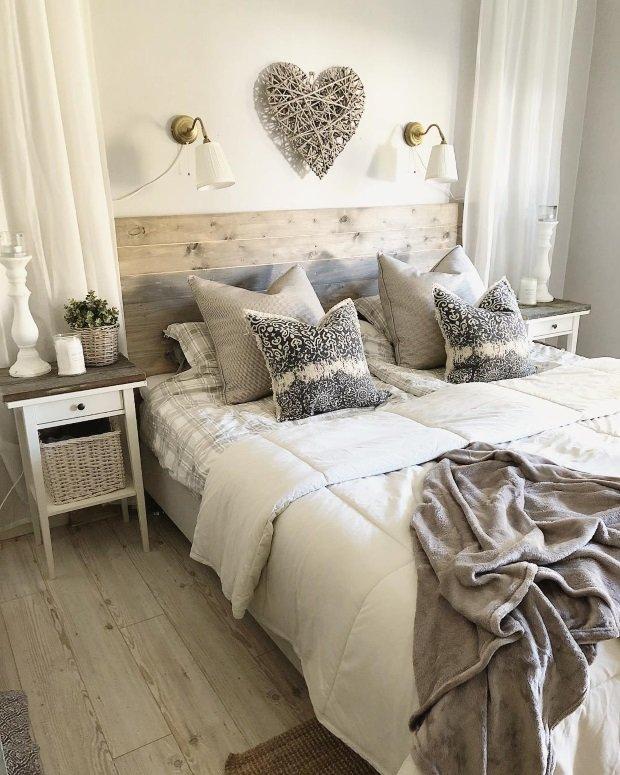 Спальня в скандинавском стиле: деревянное изголовье кровати