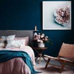 Спальня в скандинавском стиле: спальня в синем и розовом цветах