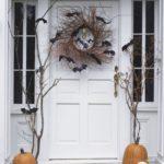 Декор входной двери на Хэллоуин, венок с летучими мышами