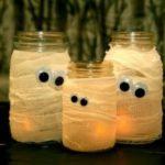 Подсвечники приведения из банок на Хэллоуин