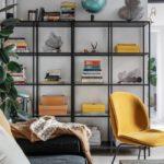 Скандинавская квартира с яркими акцентами: желтое кресло в гостиной