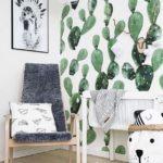 Детская в скандинавском стиле: обои с кактусами