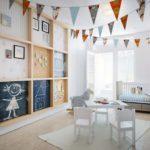 Детская в скандинавском стиле: разноцветные флажки по всей комнате