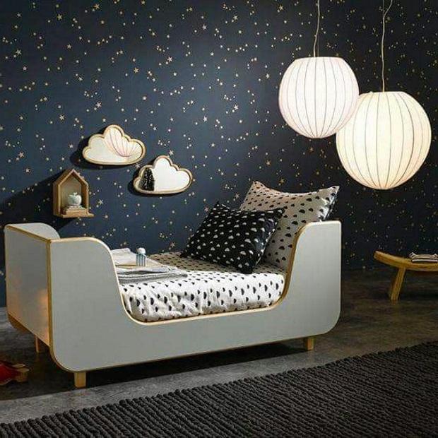 Детская в скандинавском стиле: темная детская, ночное небо