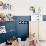 Детская в скандинавском стиле: синий на половину стены