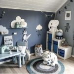 Детская в скандинавском стиле: сине-серые стены