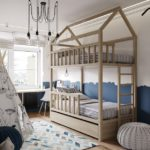 Детская в скандинавском стиле: двухъярусная кровать домик