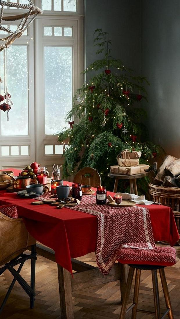 Новогодние украшения 2019: красный рождественский текстиль