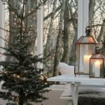 Новогодние украшения 2019: елка с гирляндой на фоне окна