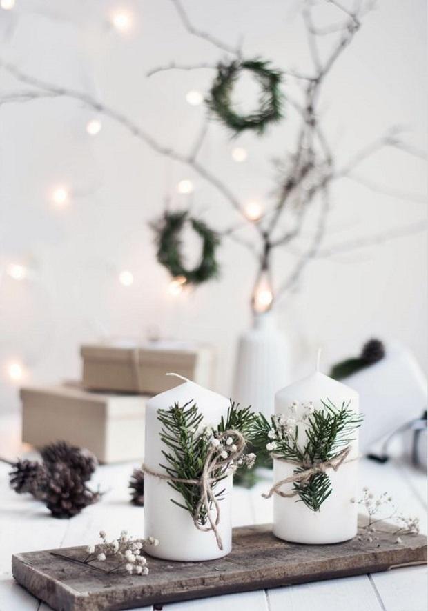 Новогодние украшения 2019: свечи в рождественском интерьере