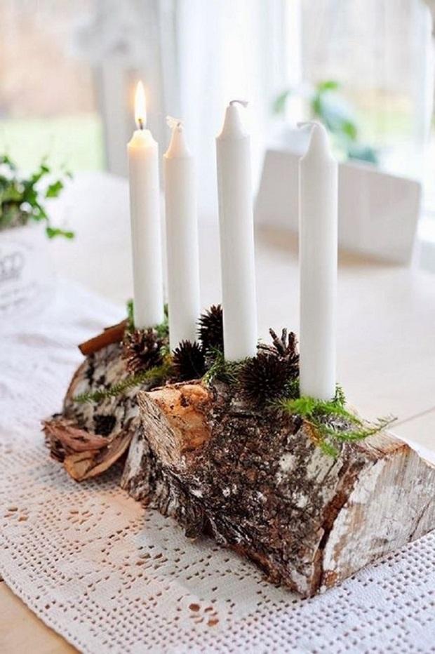 Новогодние украшения 2019: 4 свечи в новогоднем интерьере