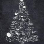 Новогодние украшения 2019: меловой рисунок елка