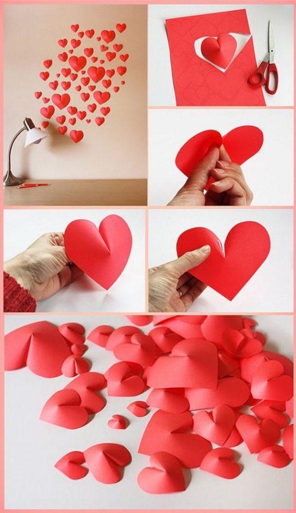 Идеи на День Святого Валентина: объемные сердечки из бумаги своими руками