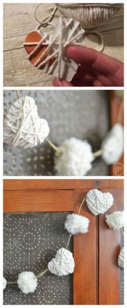 Идеи на День Святого Валентина: гирлянда из белых объемных сердец