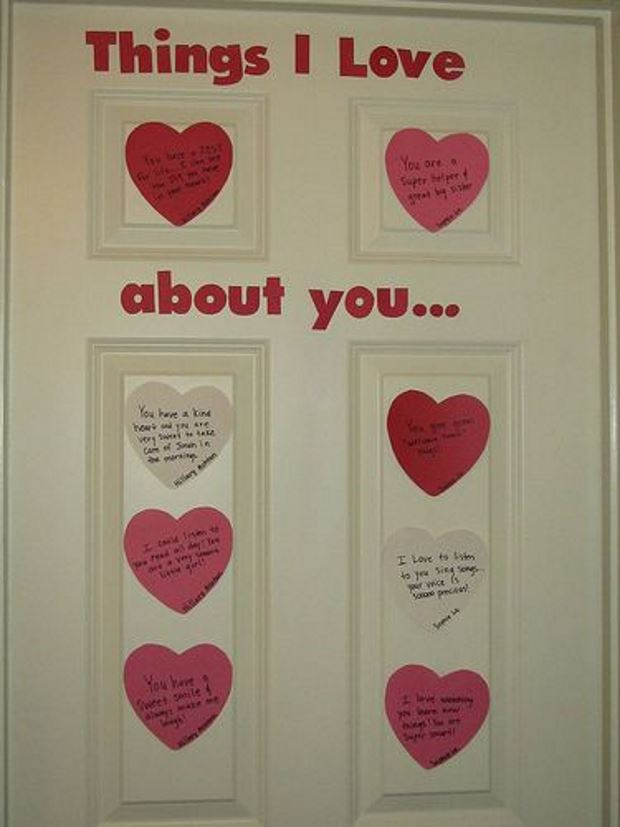Идеи на День Святого Валентина: валентинки на двери