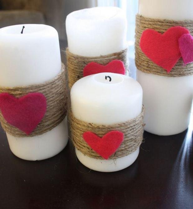 Идеи на День Святого Валентина: свечи с джутом и сердечками
