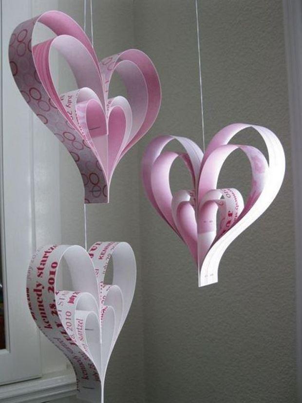 Идеи на День Святого Валентина: бумажные розовые сердца