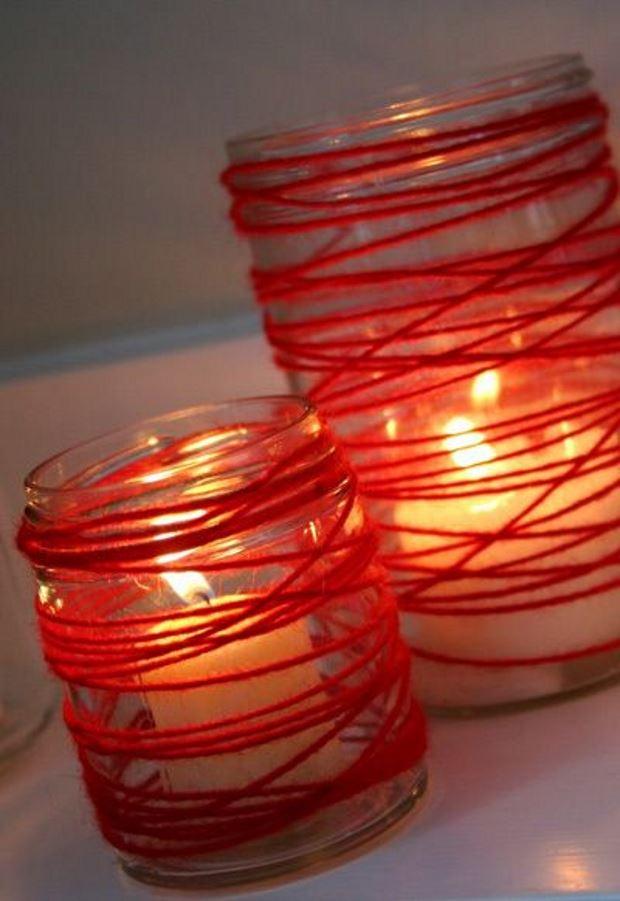 Идеи на День Святого Валентина: банки обмотанные нитками