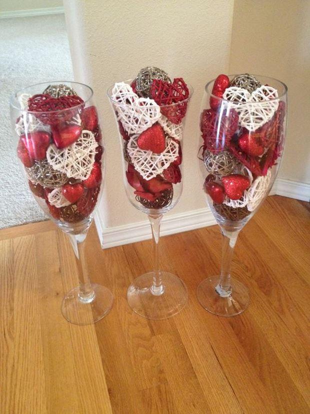 Идеи на День Святого Валентина: сердечки в бокалах
