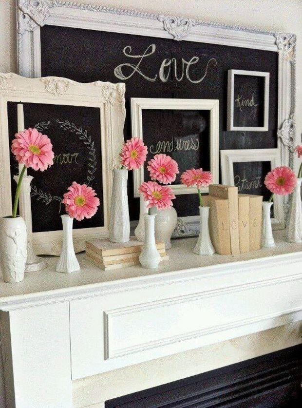 Идеи на День Святого Валентина: цветы на камине