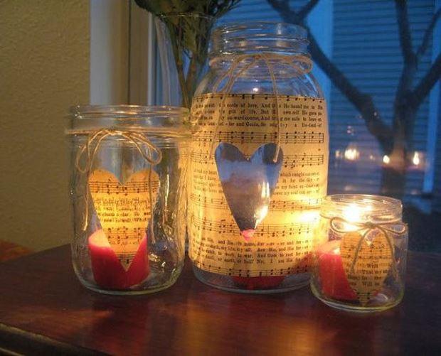 Идеи на День Святого Валентина: свечи в банках