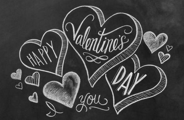 Идеи на День Святого Валентина: рисунок мелом сердца и надписи