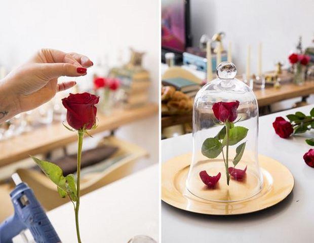 Идеи на День Святого Валентина: роза под стеклянным куполом