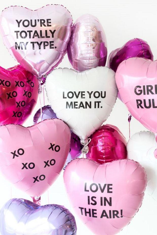 Идеи на День Святого Валентина: розовые шары сердечки