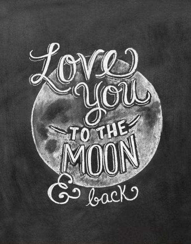 Идеи на День Святого Валентина:рисунок мелом луна