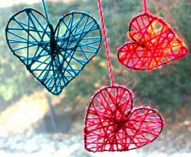 Идеи на День Святого Валентина: сердечки из ниток