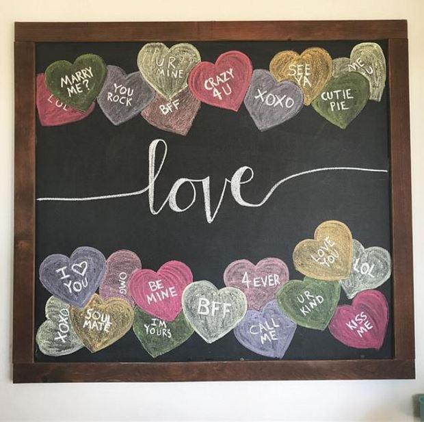 Идеи на День Святого Валентина: грифельная доска love и сердца